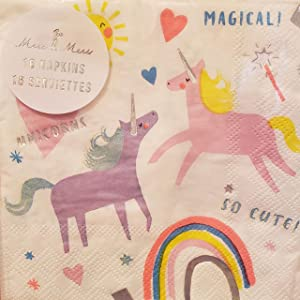 Magical Unicorn's & Rainbows Themed Party Beverage Cocktail Napkins 16 Count