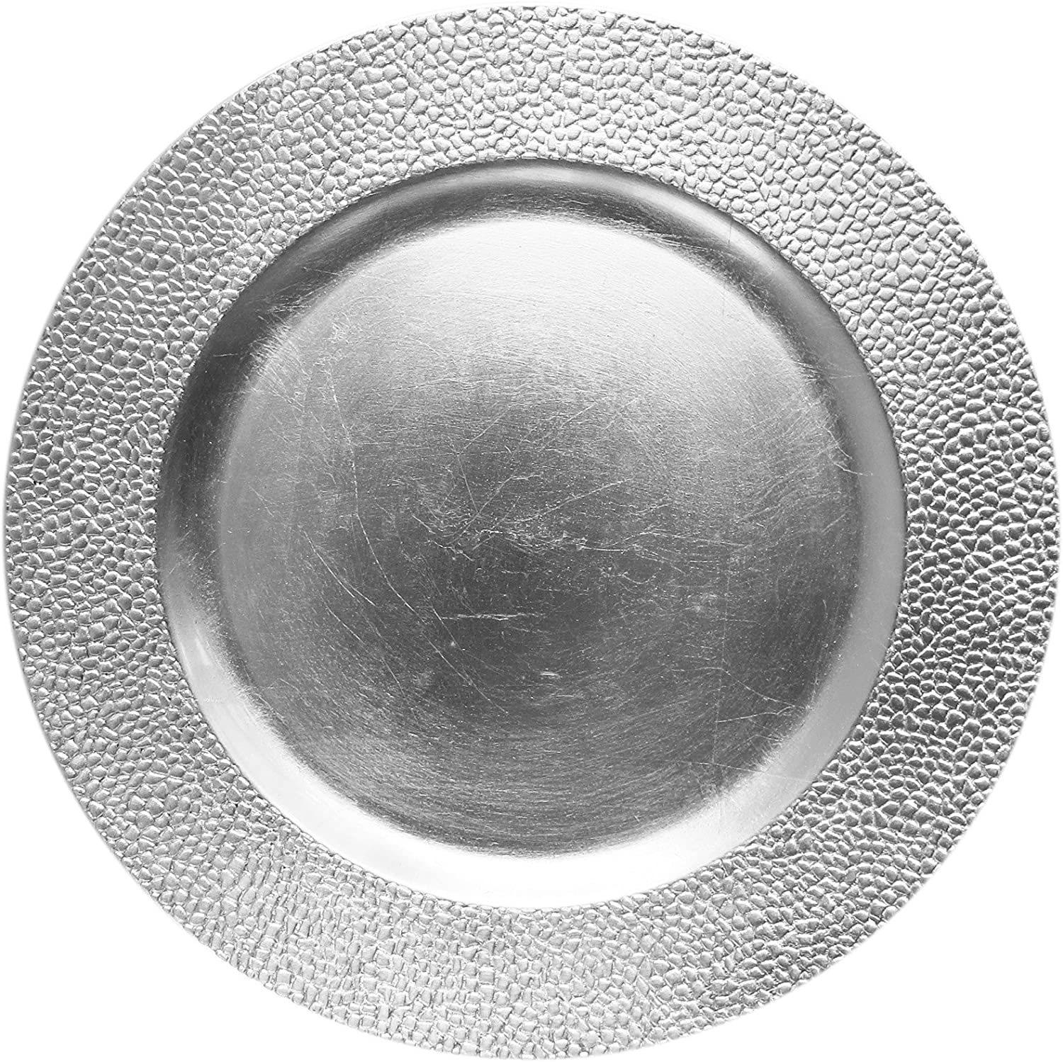 """ChargeIt by Jay Round Charger Large 13"""" Decorative Melamine Service Plate for Home & Professional Fine Dining-For Upscale Catering Events, Dinner Parties, & Weddings, Silver"""