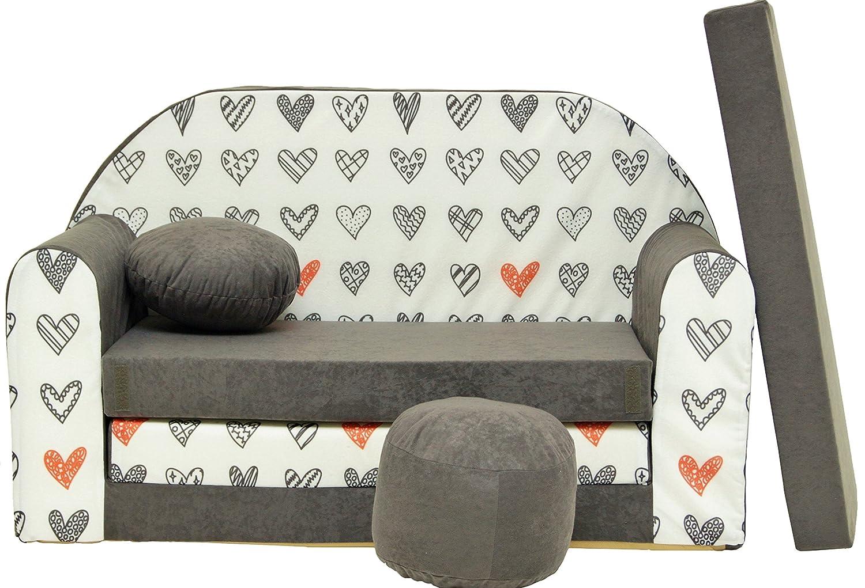 Divano divanetto bambini e cuscino e puff mini divano transformabile in lettino (A40) Coco-Baby