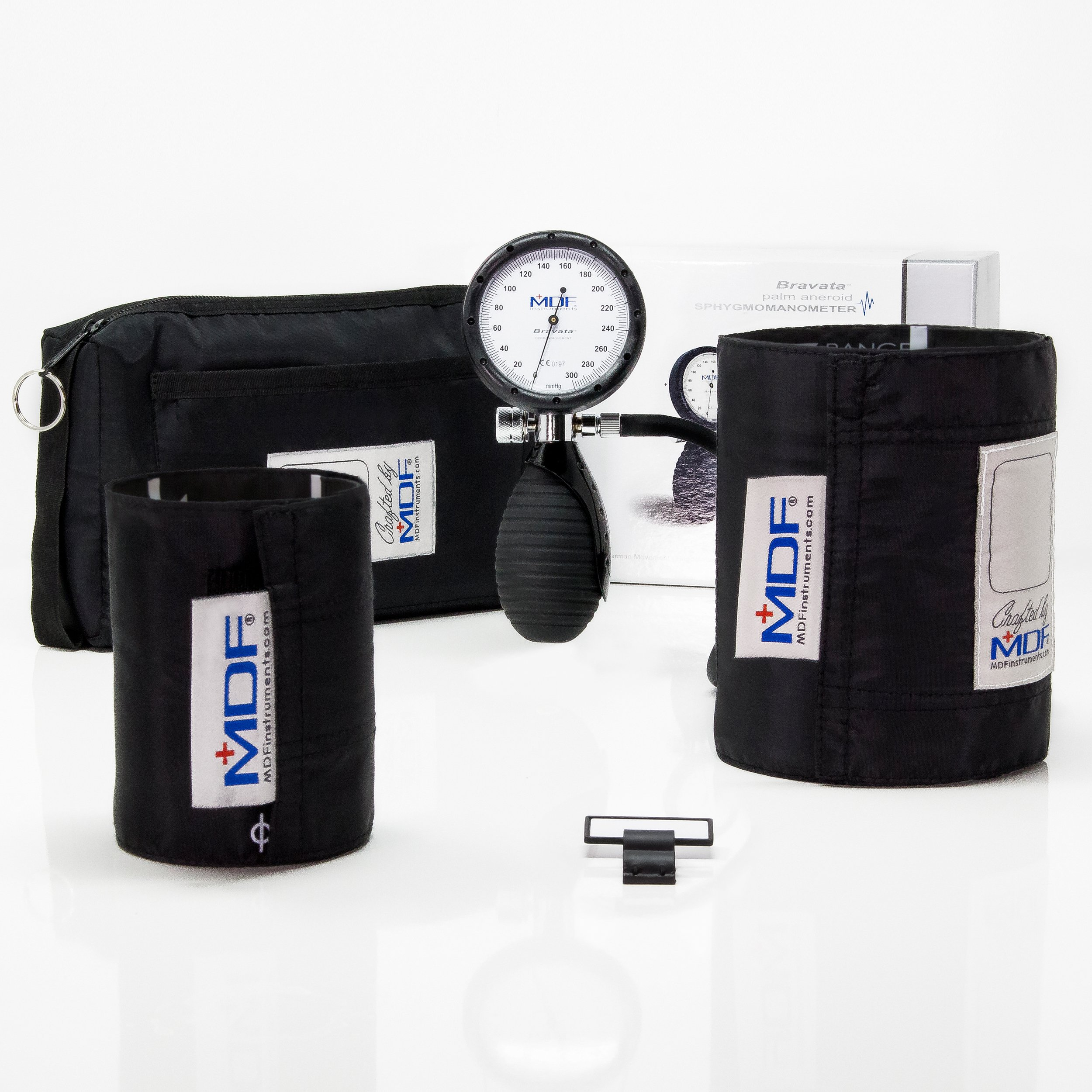 MDF® Bravata Palm Aneroid Sphygmomanometer - Professional Blood Pressure Monitor with Adult & Pediatric Sized Cuffs Included - Full Lifetime Warranty & Free-Parts-For-Life - Black (MDF848XPD-11)