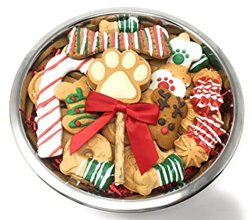 gourmet christmas dog treats in stainless steel bowl large premium