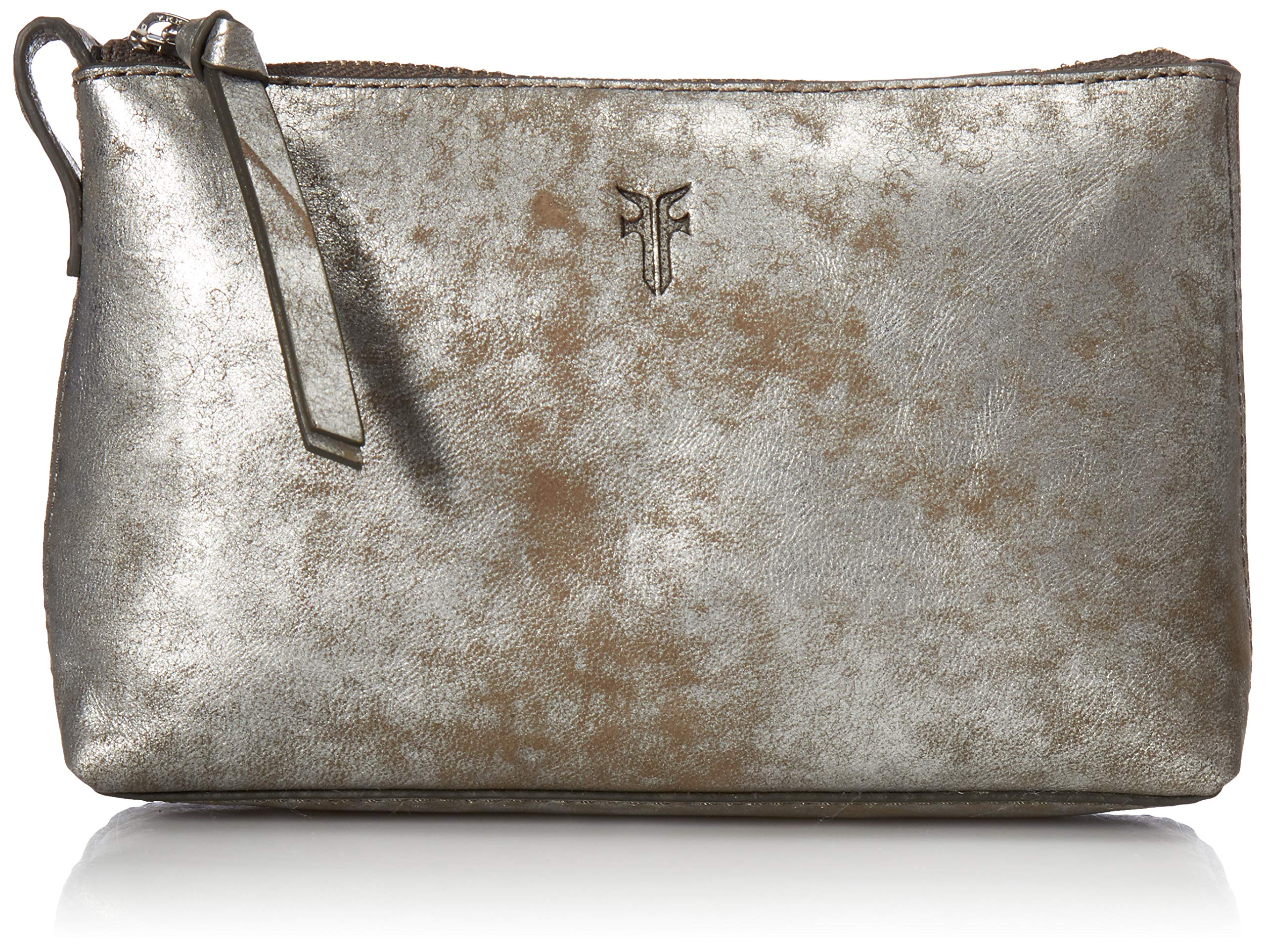 FRYE Leather Zip Makeup Case, silver