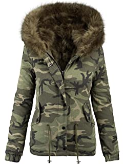 3afa27b3045f Golden Brands Selection Damen Designer Winter Jacke Camouflage Army Parka  Winterjacke Großes Fell B280