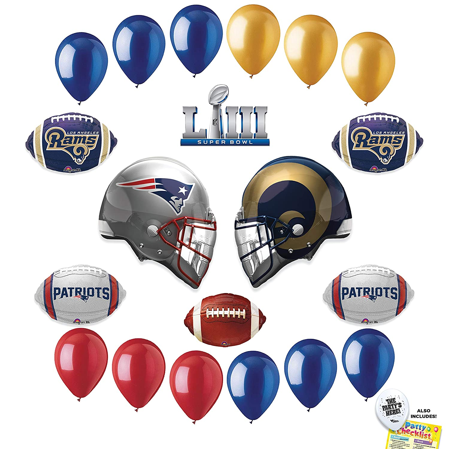 395464a9494af8 Amazon.com: SUPER BOWL 53 DUEL - Los Angeles Rams vs New England Patriots  Football NFL Sports Team HEAD TO HEAD Party Supplies Decorations Balloon Kit  ...