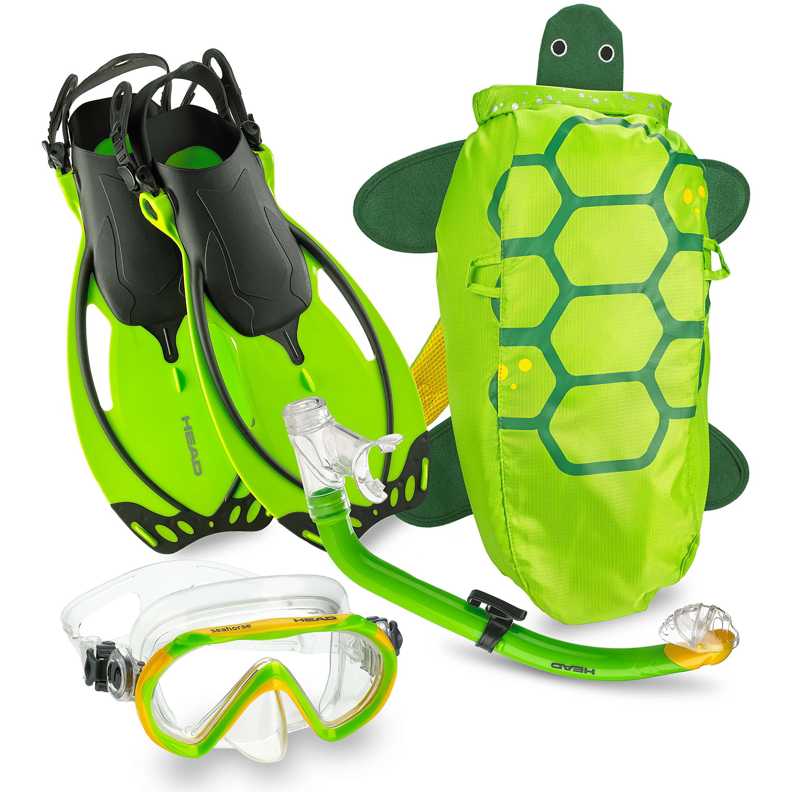 Mares Italian Collection Premium Youth Sea Pals Character Kids Mask Fin Snorkel Set Snorkeling Gear - Ultra-Clear Tempered Glass Lens Snorkeling Set (Lime, Large/1-4) by Mares
