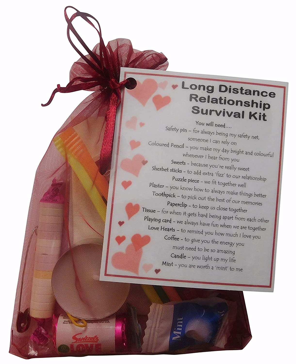 SMILE GIFTS UK Long Distance Relationship Survival Kit Gift Great Novelty Present For Girlfriend Or Boyfriend Valentines Birthday Christmas