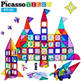 PicassoTiles 121pc Master Builder Magnetic Building Block Construction Set Magnet Tiles Blocks with Car Truck, 2…
