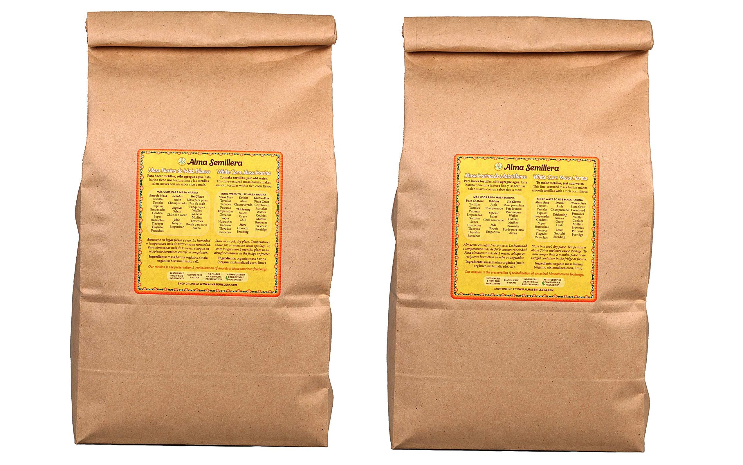 ALMA SEMILLERA White Corn Masa Harina - Non-GMO, Gluten Free, Vegan, Fine Texture (5lb - 2 Pack)