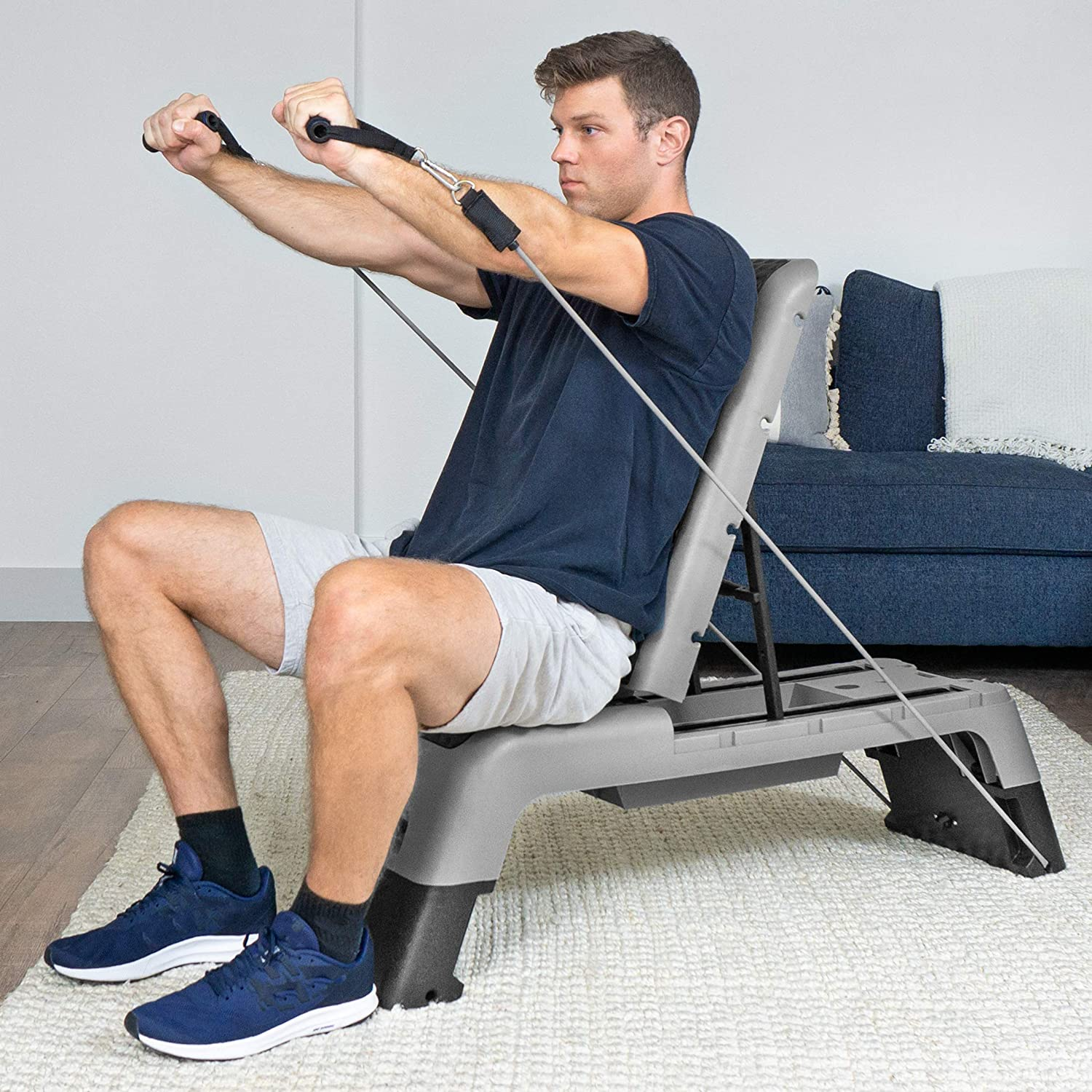 Multifunctional Workout Bench for Weight Training ProsourceFit Fitness Aerobic Deck Stepper with Resistance Band Plyometrics for Home Gym