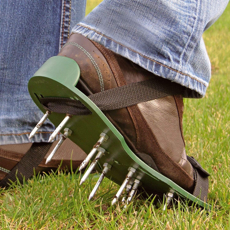 Zapatos Parkland® con picos para jardín y césped aireador, zapatos respirables – 2 correas ajustables, 13 x 5 cm de profundidad en los picos.