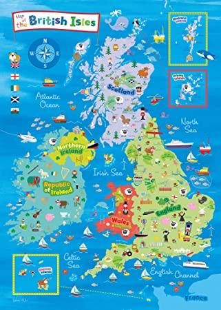 Map Of Uk For Printing.Happy Spaces 50 X 70 X 2 Cm Kids Wall Canvas Print Map Of The