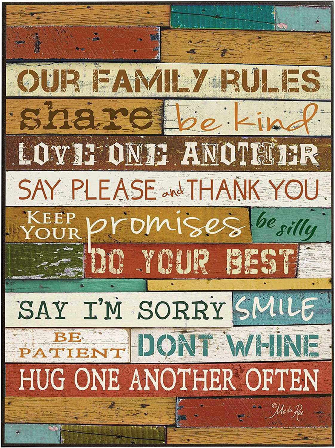 P. Graham Dunn Our Family Rules Colorful Distressed Wood 18 x 12 Wood Wall Art Sign Plaque
