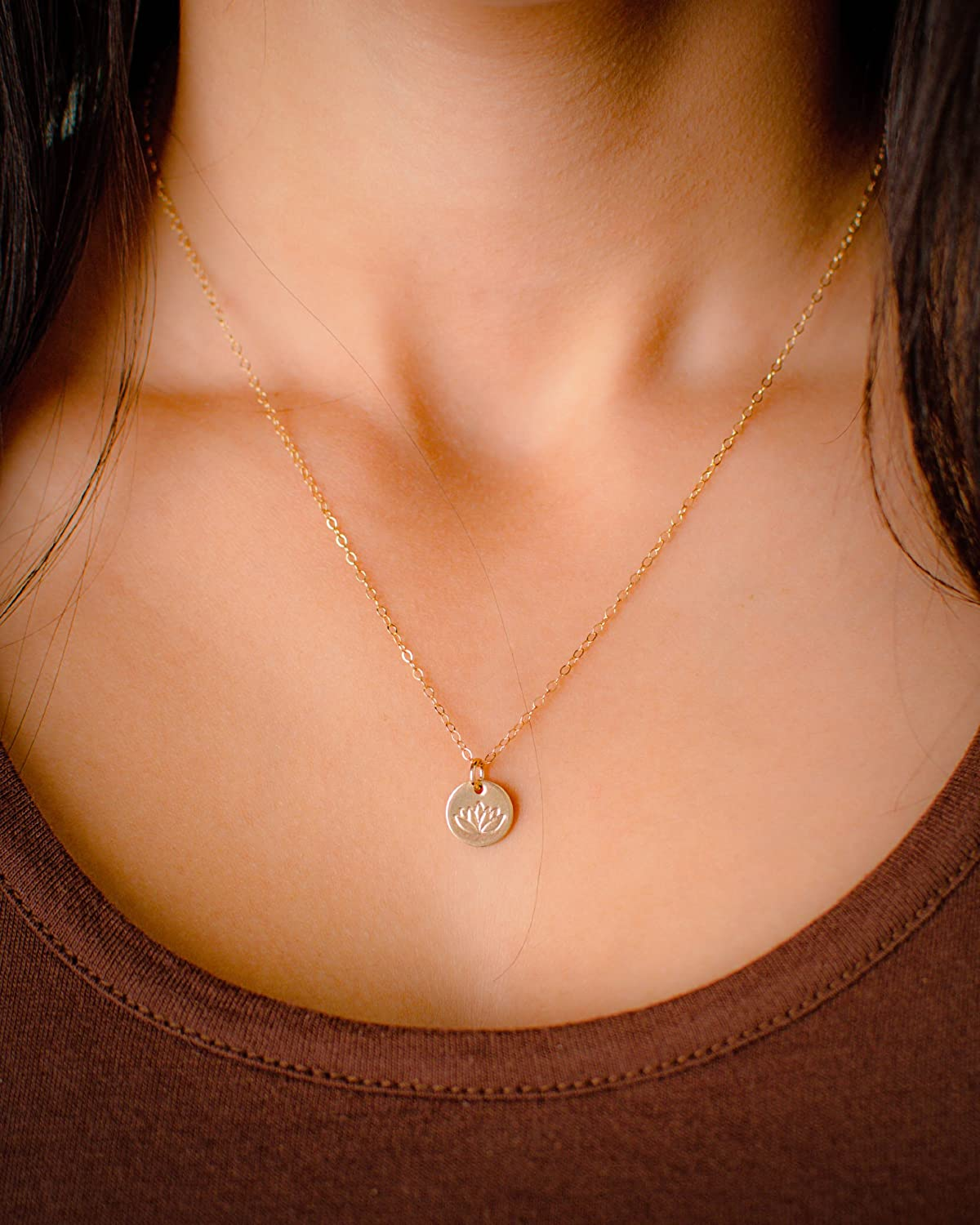 Amazon Lotus Necklace Tiny Gold Filled Yoga Pendant On 14k