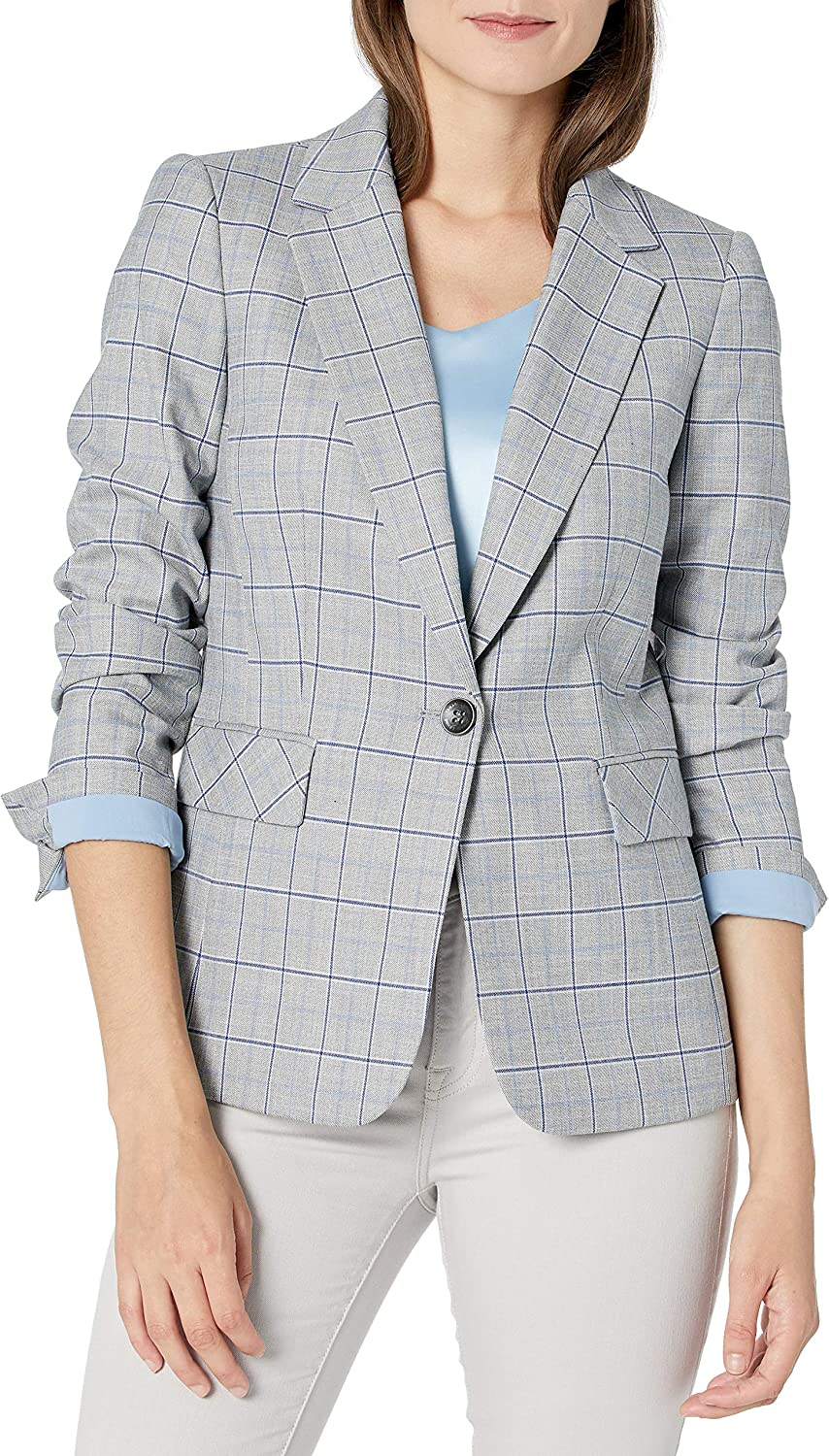Tahari We OFFer at cheap prices ASL Women's One Button Jacket Max 56% OFF Flap Plaid Pocket