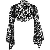 Damen Langarm Bolero Jäckchen aus weiche Spitze, Ärmel glockenförmig, Schwarz, Elfenbein, Weiß, Größen 34-56