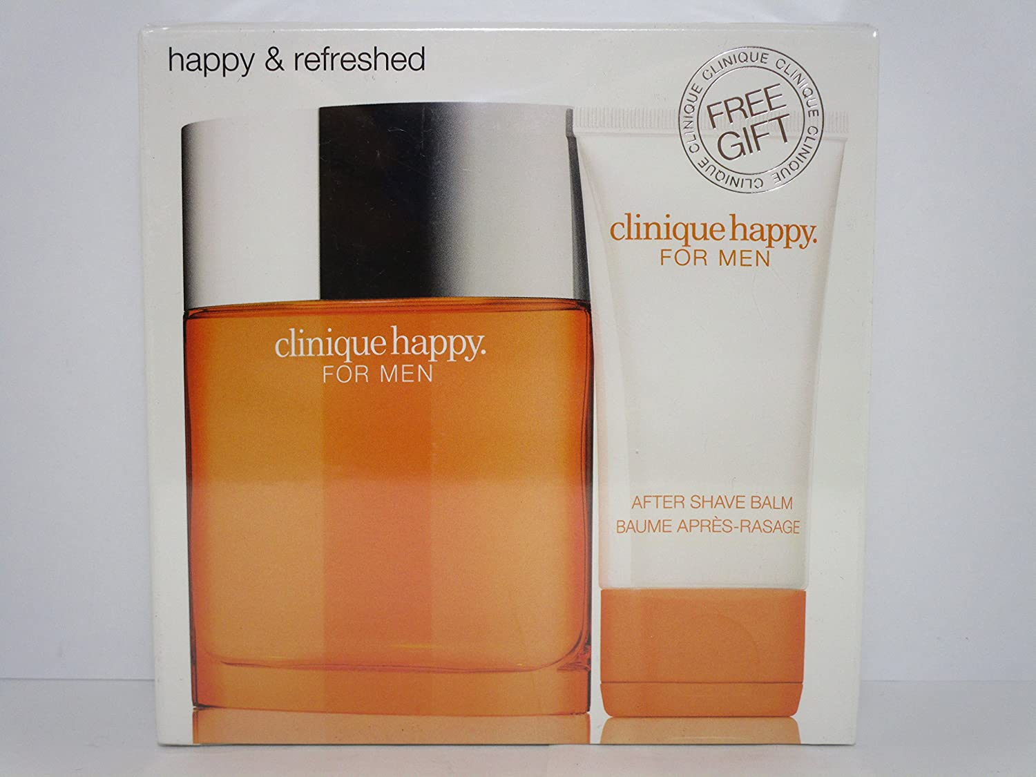 CLINIQUE HAPPY FOR MEN Eau De Toilette Spray FOR MEN 3.4 Oz / 100 ml & AFTERSHAVE BALM 1.7 Oz / 50 ml BRAND NEW ITEM IN BOX SEALED