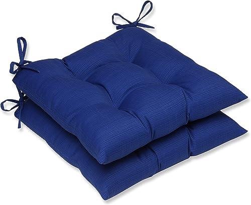 Pillow Perfect Outdoor/Indoor Veranda Cobalt Tufted Seat Cushions Square Back