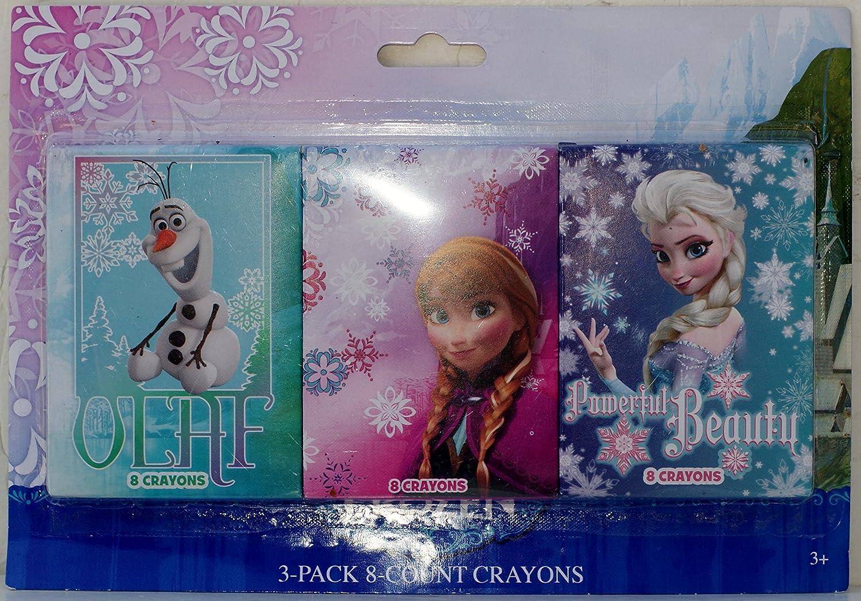 Disney Frozen 3 Pack 8 Count Crayons Anna, Olaf, /& Elsa Powerful Beauty Tri-Coastal Design