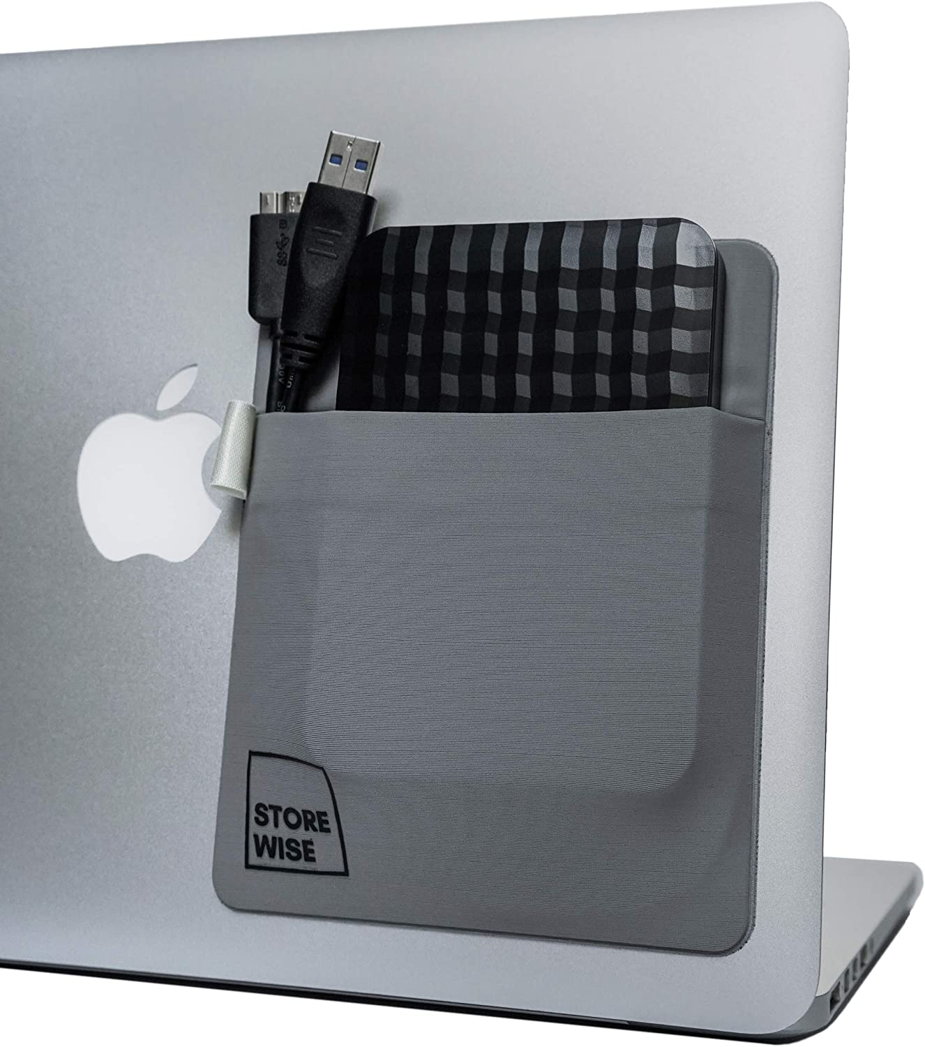 Laptop Organizer - Pocket Holder for External Hard Drive by StoreWise | Home Office Organizer | Modern Storage Accessories for Battery Pack, Wireless Mouse, Cables, Earphones and Pen (Grey)