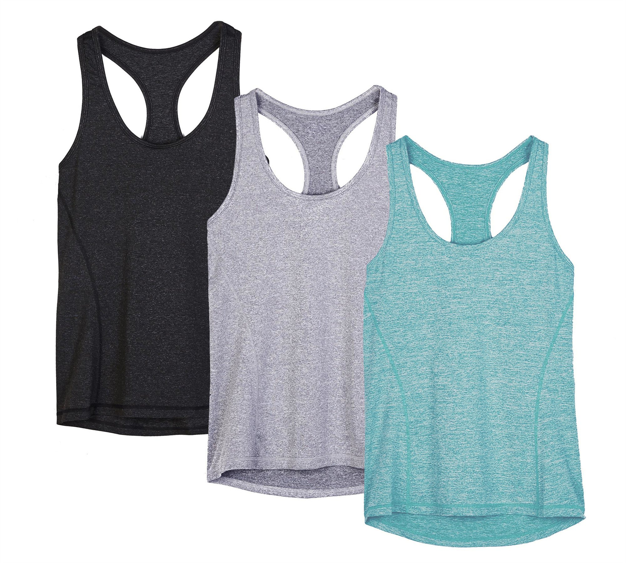icyzone Activewear Running Workouts Clothes Yoga Racerback Tank Tops Women (M, Black/Granite/Green)