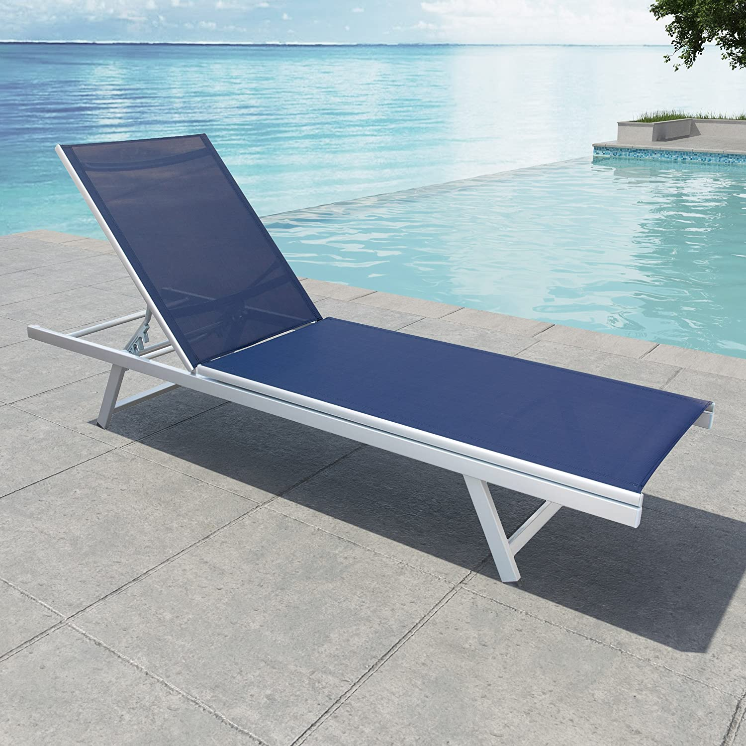 CorLiving PJR-309-R Gallant Reclining Patio Lounger Black//Silver
