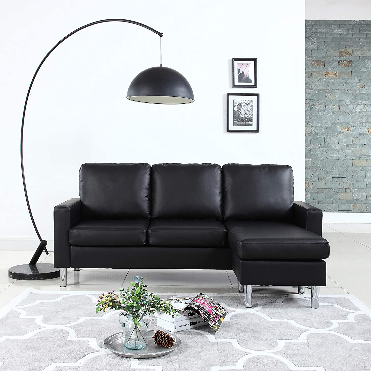 Modern Bonded Leather Sectional Sofa - Small Space Configurable Couch -  Black