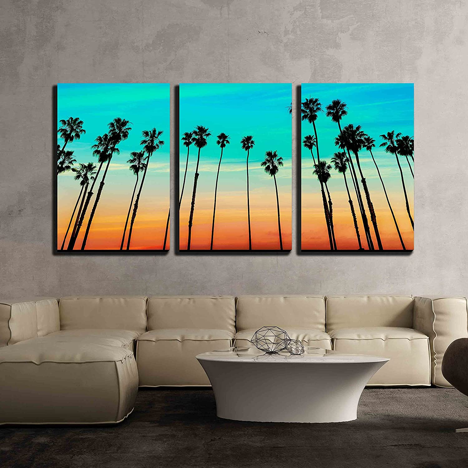"""wall26 - 3 Piece Canvas Wall Art - California Sunset Palm Tree Rows in Santa Barbara US - Modern Home Decor Stretched and Framed Ready to Hang - 16""""x24""""x3 Panels"""