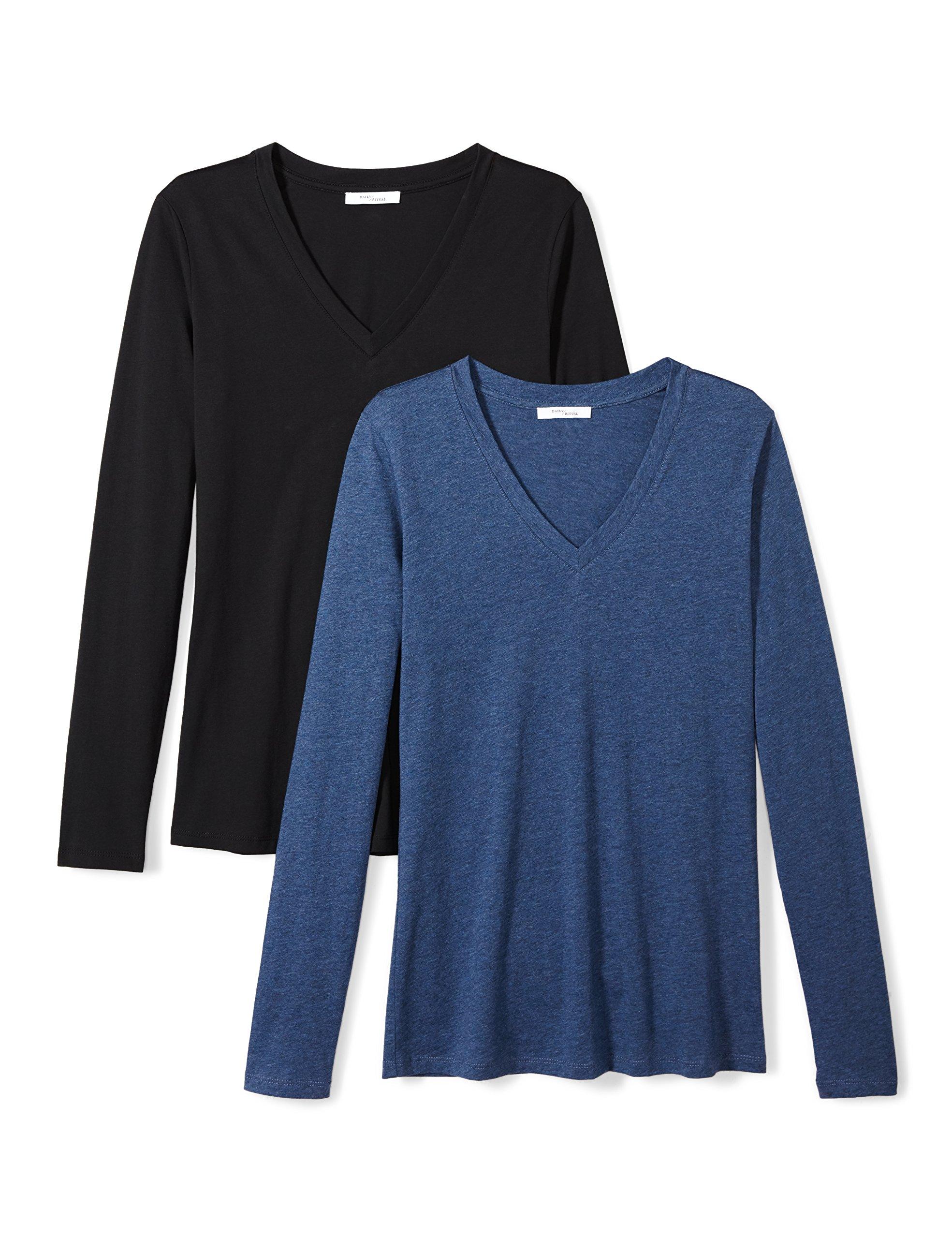 Daily Ritual Women's Lightweight 100% Supima Cotton Long-Sleeve V-Neck T-Shirt, 2-Pack, XXL, Black/Heather Blue