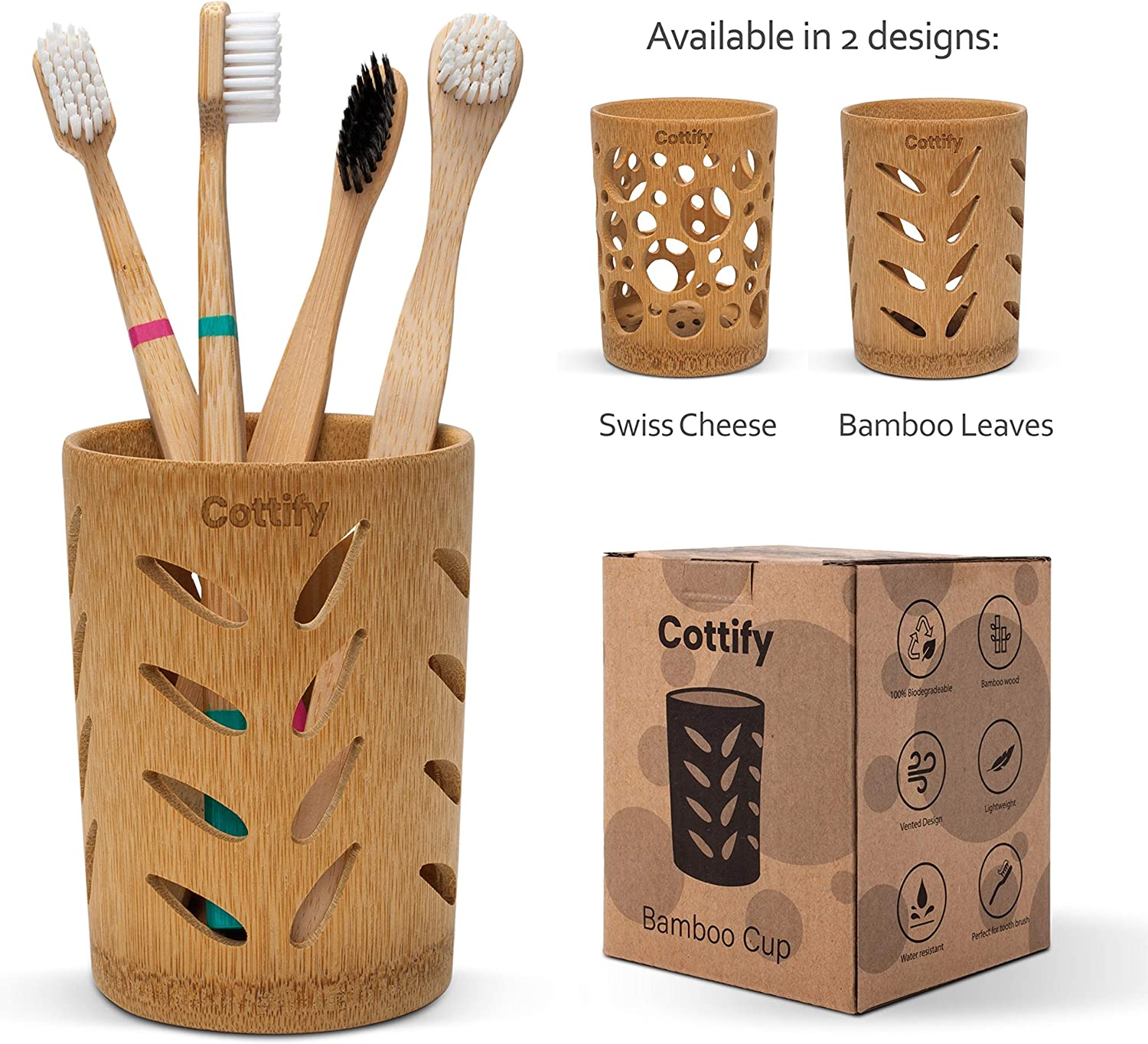 Amazon Com Premium Bamboo Toothbrush Holder For Bathroom Toothbrush Cup With Holes Quick Drying Bathroom Cup 360 Air Circulation Toothpaste Holder For Bathroom Bathroom Cup Holder Bamboo Leaves Kitchen Dining