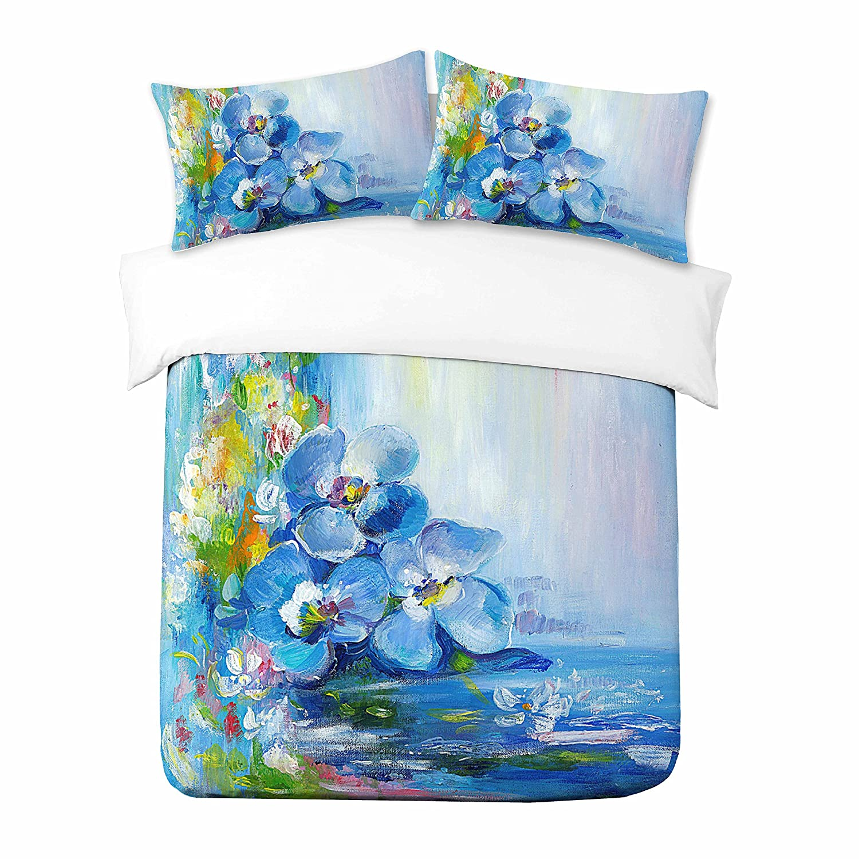 Water Flowers Painting Alle Gr/ö/ßen 1x Kissenbezug Adam Home 3D Digital Printing Bett Leinen Bettw/äsche-Set Bettbezug
