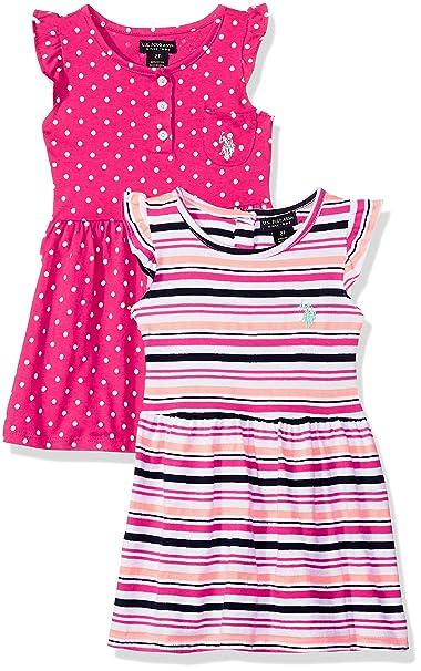 U.S. Polo Assn. Niñas Manga Corta Vestido Casual - Rosado - 4 años ...
