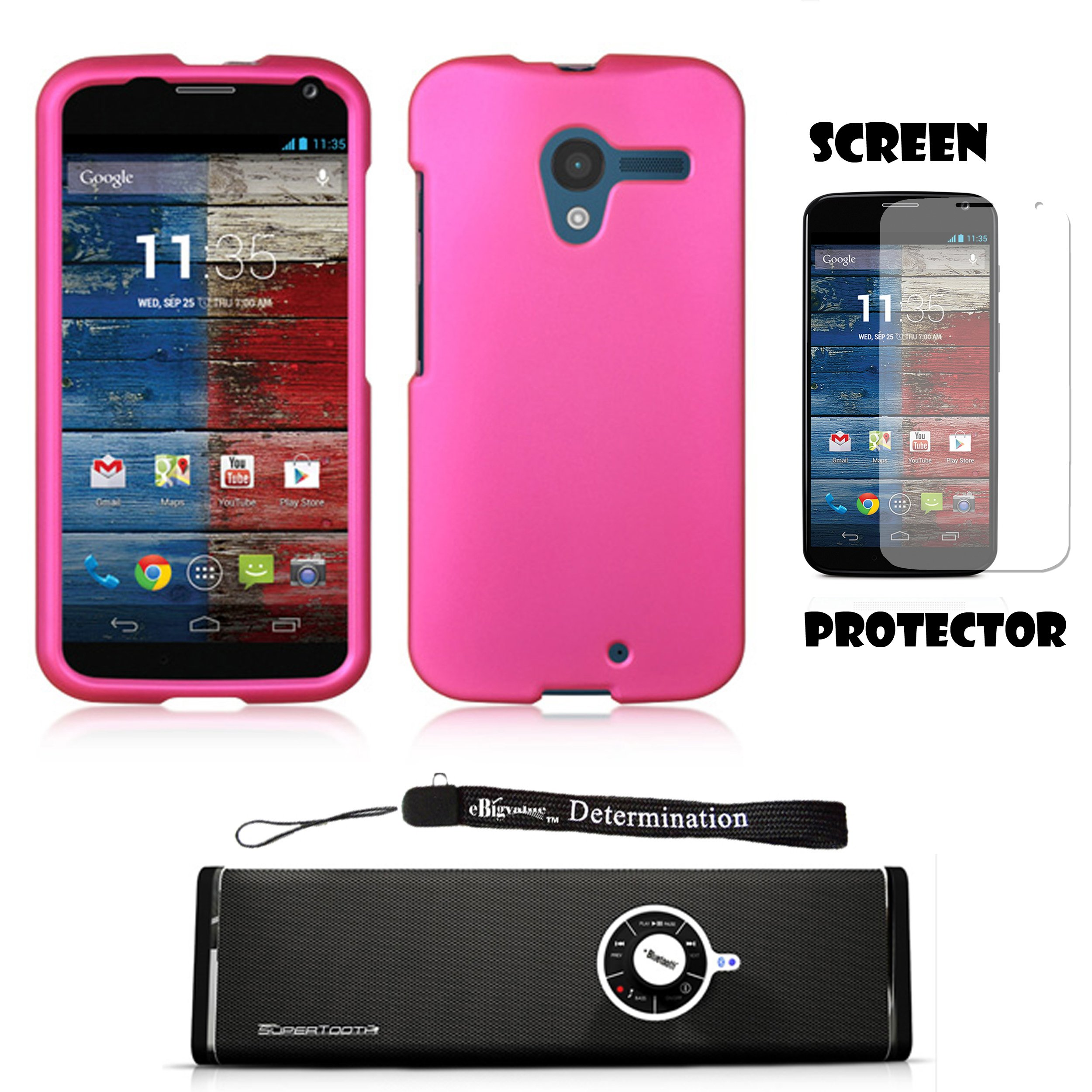 Magenta Premium Hard Design Crystal Case Snap On Cover For Motorola Moto X Android OS V4 2.2 (Jelly Bean) + Motorola Moto X Clear Screen Protector + Supertooth Disco Bluetooth Speaker with AUX Cable + an eBigValue Determination Hand Strap by eBigValue