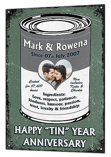 10 Year Tin Wedding Anniversary Gift Custom Vintage Metal Matching