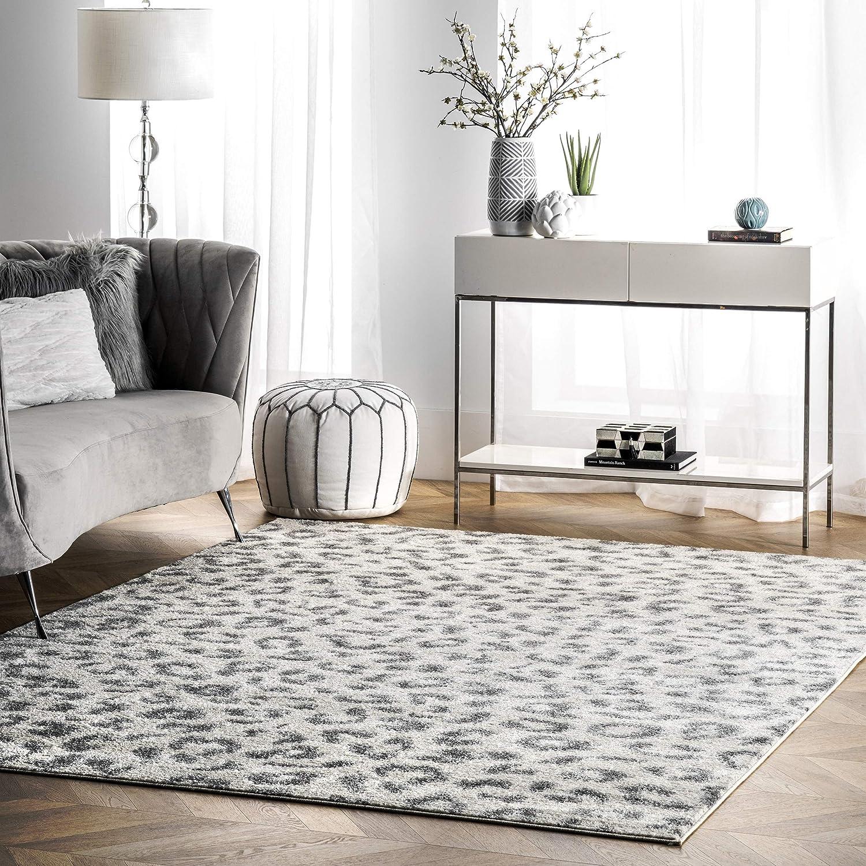 Nuloom Print Leopard Area Rug 8 X 10 Gray Furniture Decor