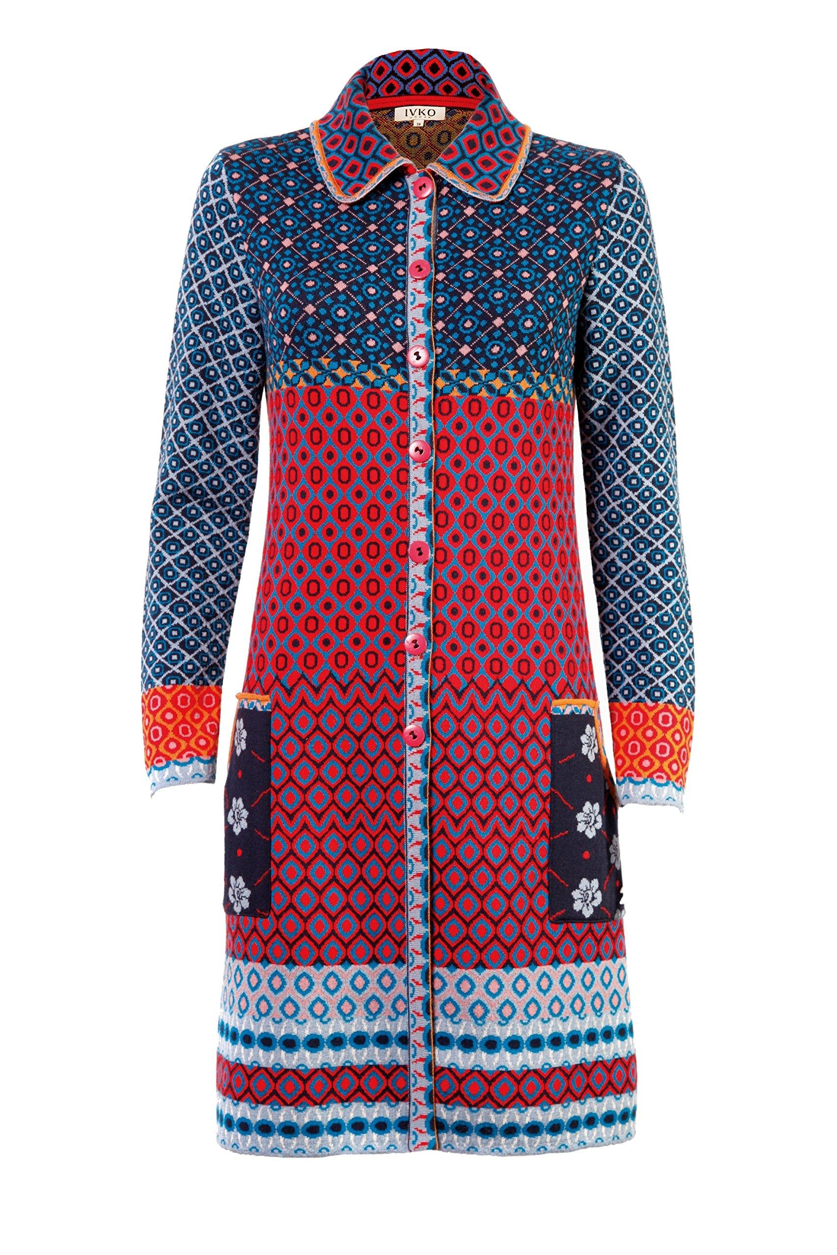 IVKO Long Merino Wool Sweater Jacket, Geometric Pattern, Front Button Closure, Blue/Red, US 8 - EUR 38