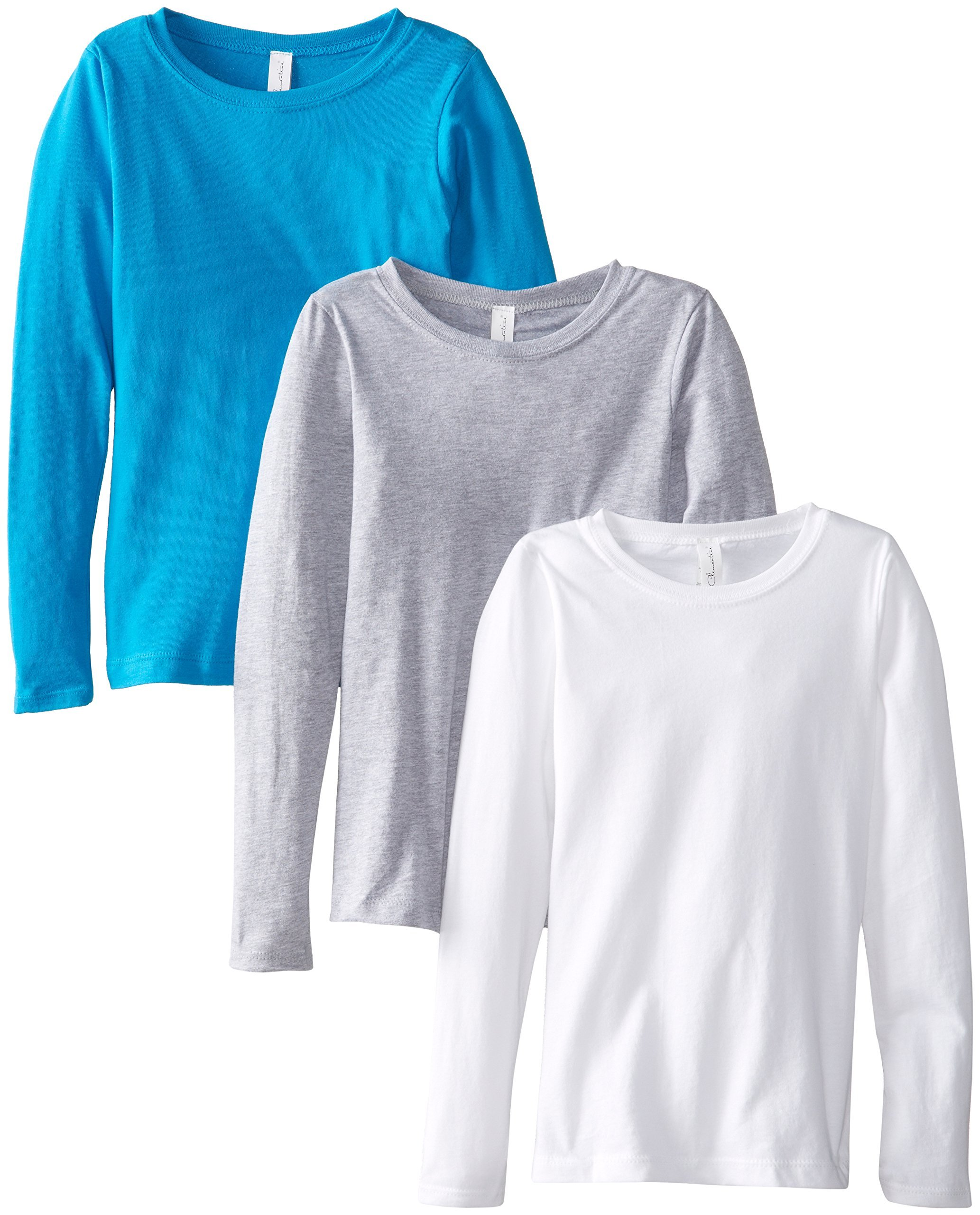 Clementine Big Girls' Everyday Long Sleeve Tee Assorted 3 Pack, White/Grey/Turquoise,Medium (7-8)