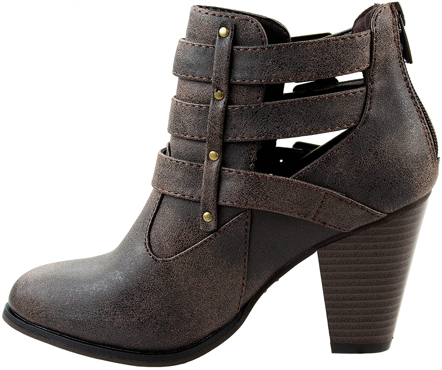 Forever Shoes Womens Camila 62 Short Ankle Riding Heels Wanita Suede 274 Boots Chunky Heel Three Buckled Strap Bootie