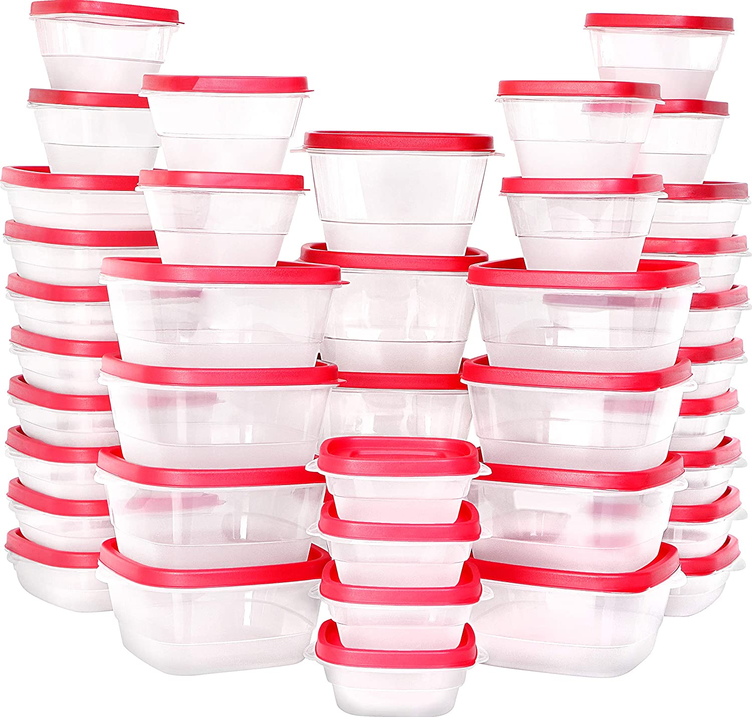 Utopia Kitchen 80 Piece Container Set (40 Containers + 40 Lids) Square Food Container - Red Lid - Snap Lid - Microwave, Dishwasher & Freezer - BPA Free