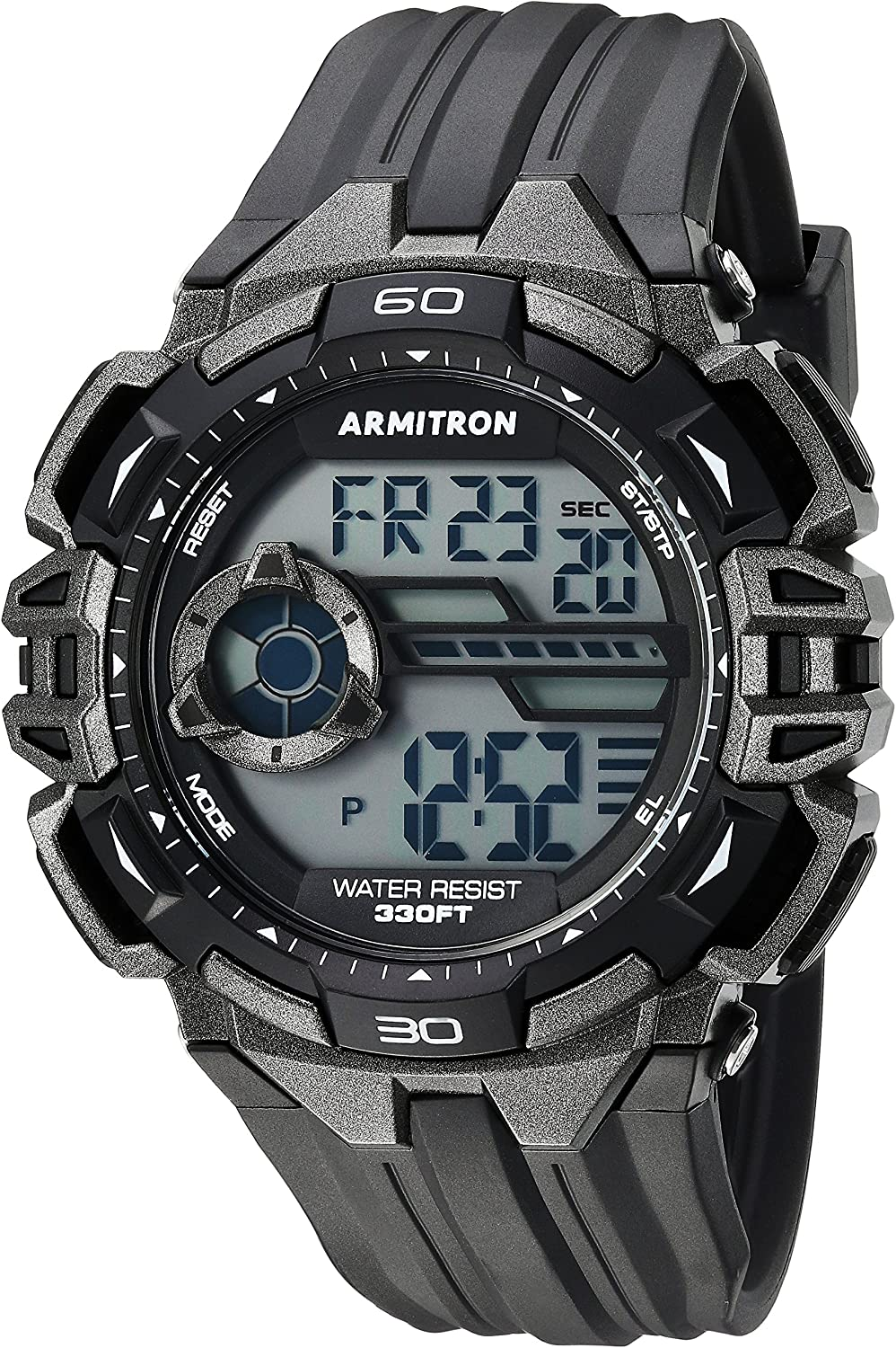Armitron Sport Men s 40 8411GBK Gunmetal Accented Digital Chronograph Black Resin Strap Watch