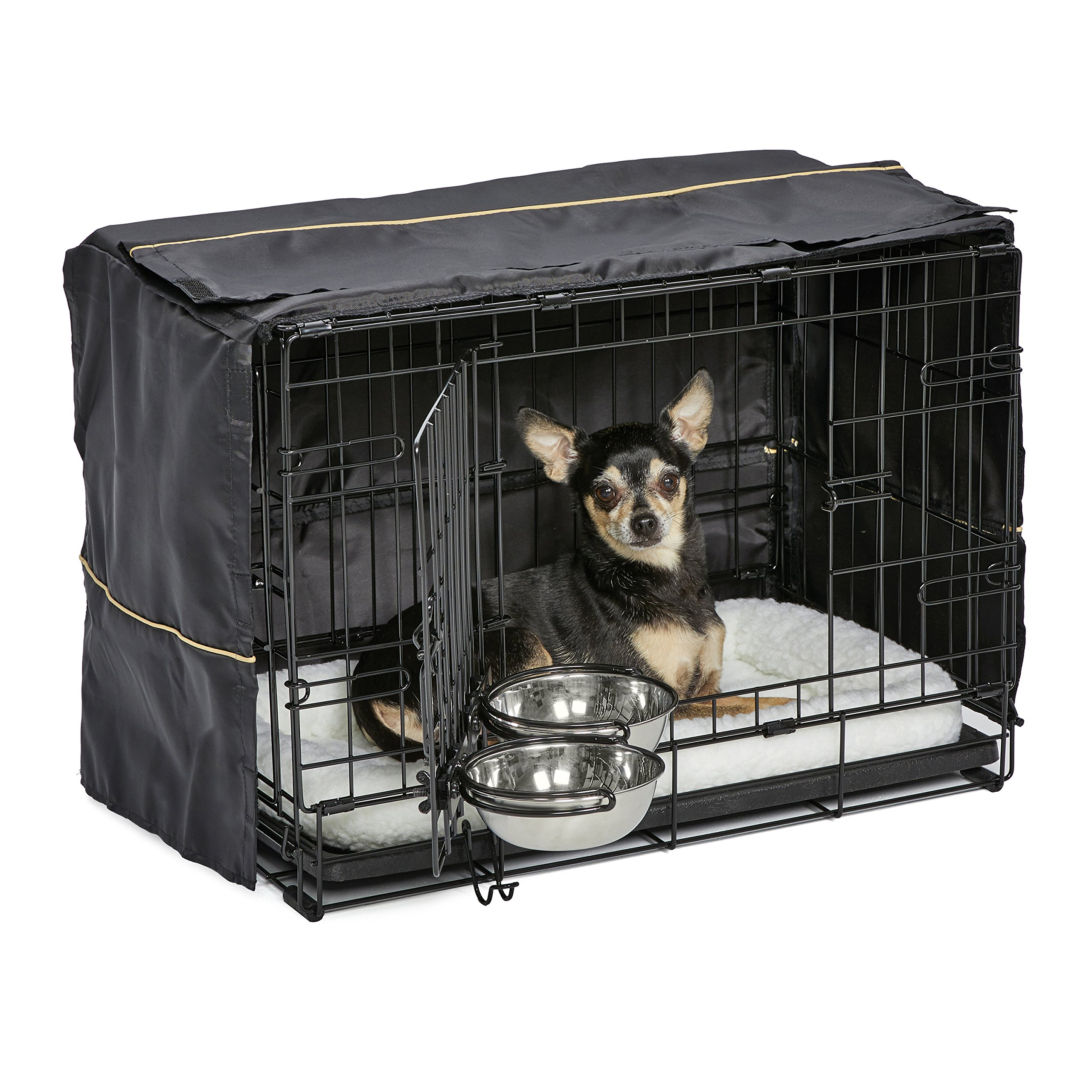 MidWest Homes for Pets Dog Crate Starter Kit | One 2-Door iCrate, Pet Bed, Crate Cover & 2 Pet Bowls | 22-Inch Ideal for XS Dog Breeds