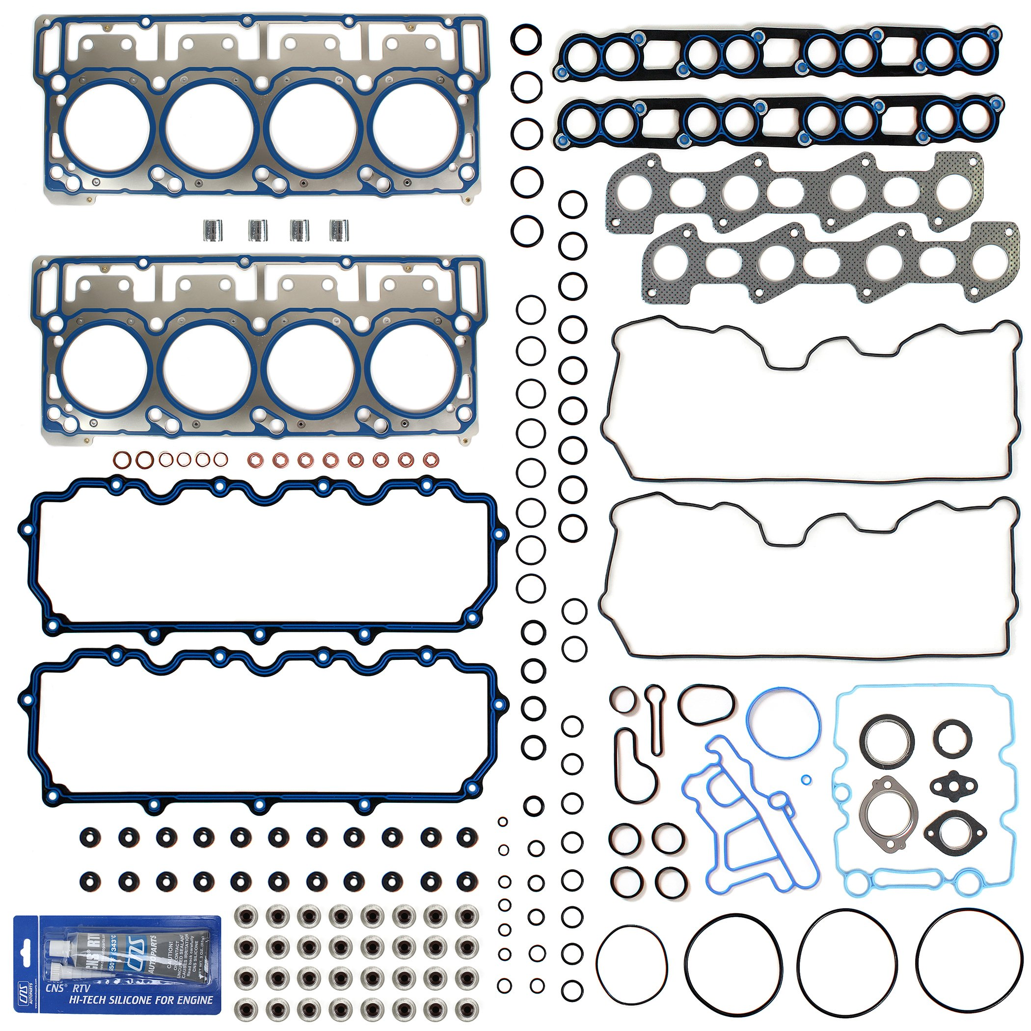 New MLS Cylinder Head Gasket Set (18mm) w/RTV Silicone for 03-10 Ford 6.0L PowerStroke Diesel Turbo F-250 F-350 F-450 F-550 E350 E450 Super Duty by CNS EngineParts