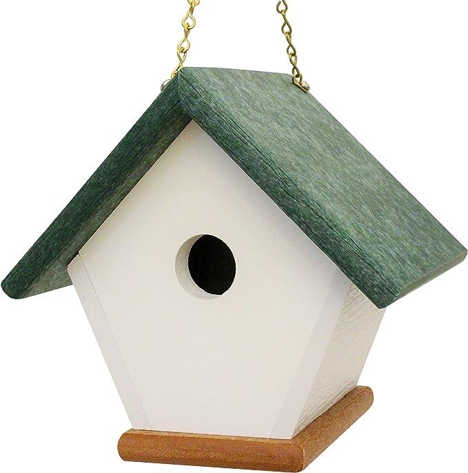 Homepro Garden Hanging Wren Bird House Handmade From Eco Friendly Recycled Plastic Materials Green Cedarwood Garden Outdoor