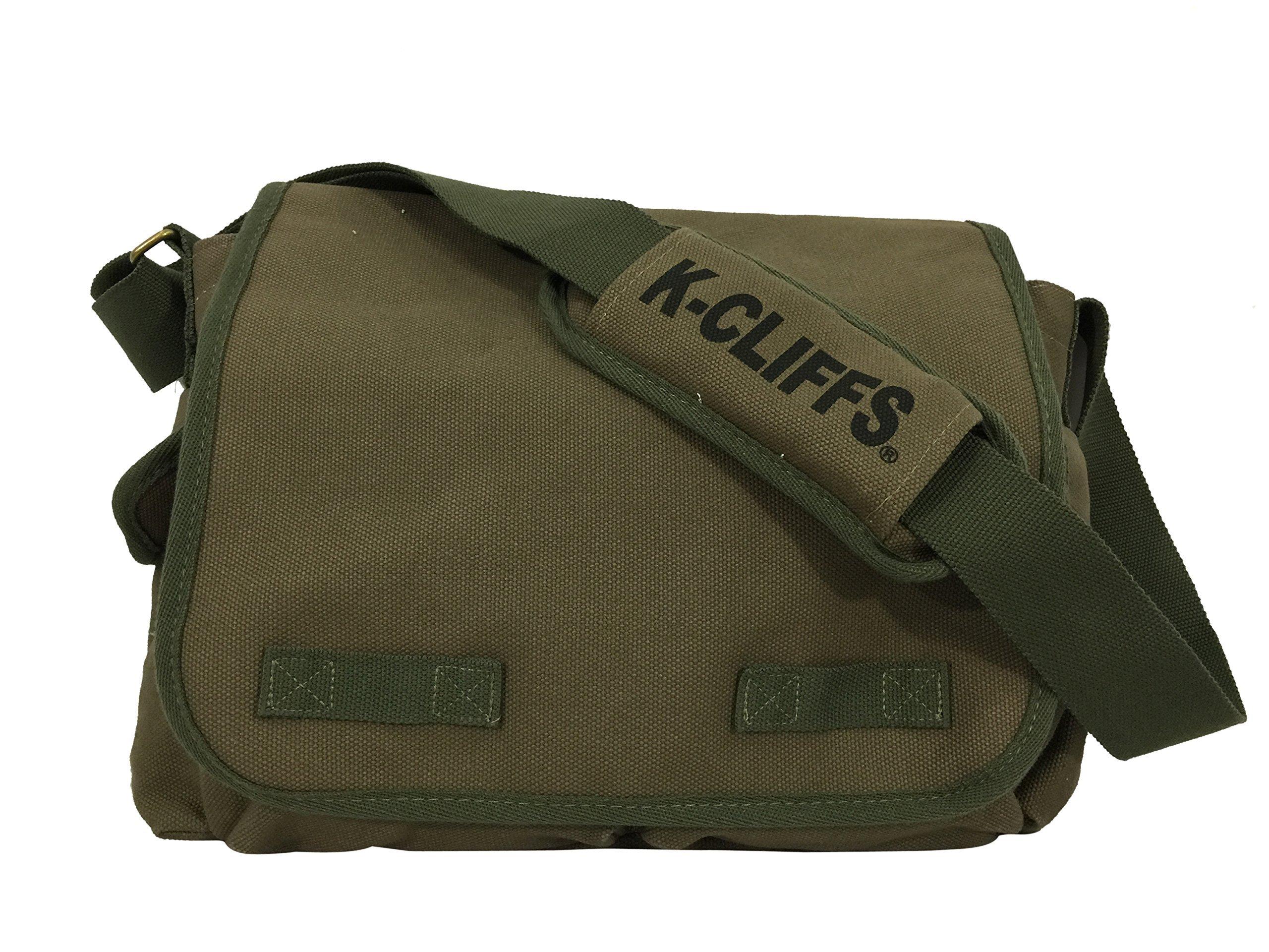 K-Cliffs RT107 Olive Classic Canvas Messenger Bag, Vintage Military Laptop, Heavy Duty