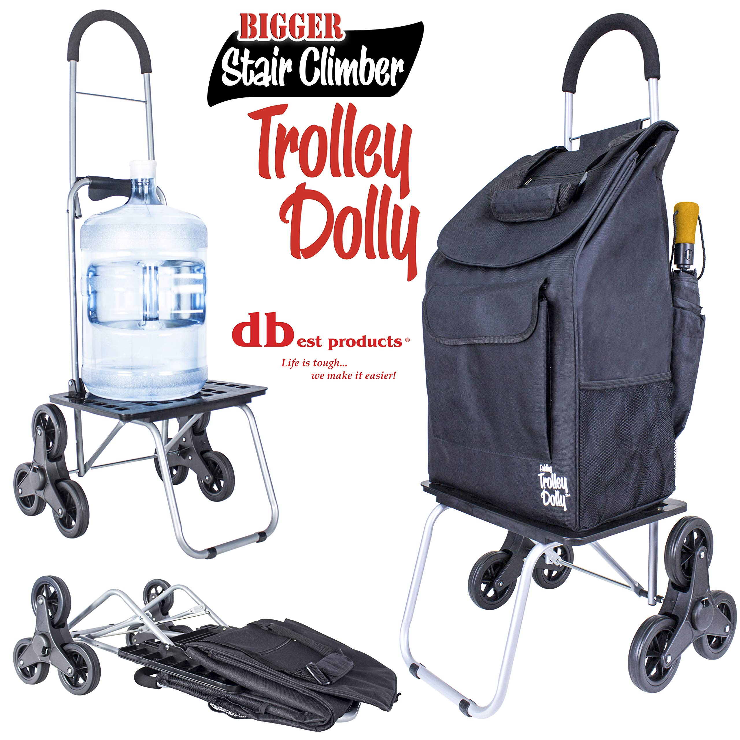 dbest products Stair Climber Bigger Trolley Dolly, Black Grocery Shopping Foldable Cart Condo Apartment by dbest products