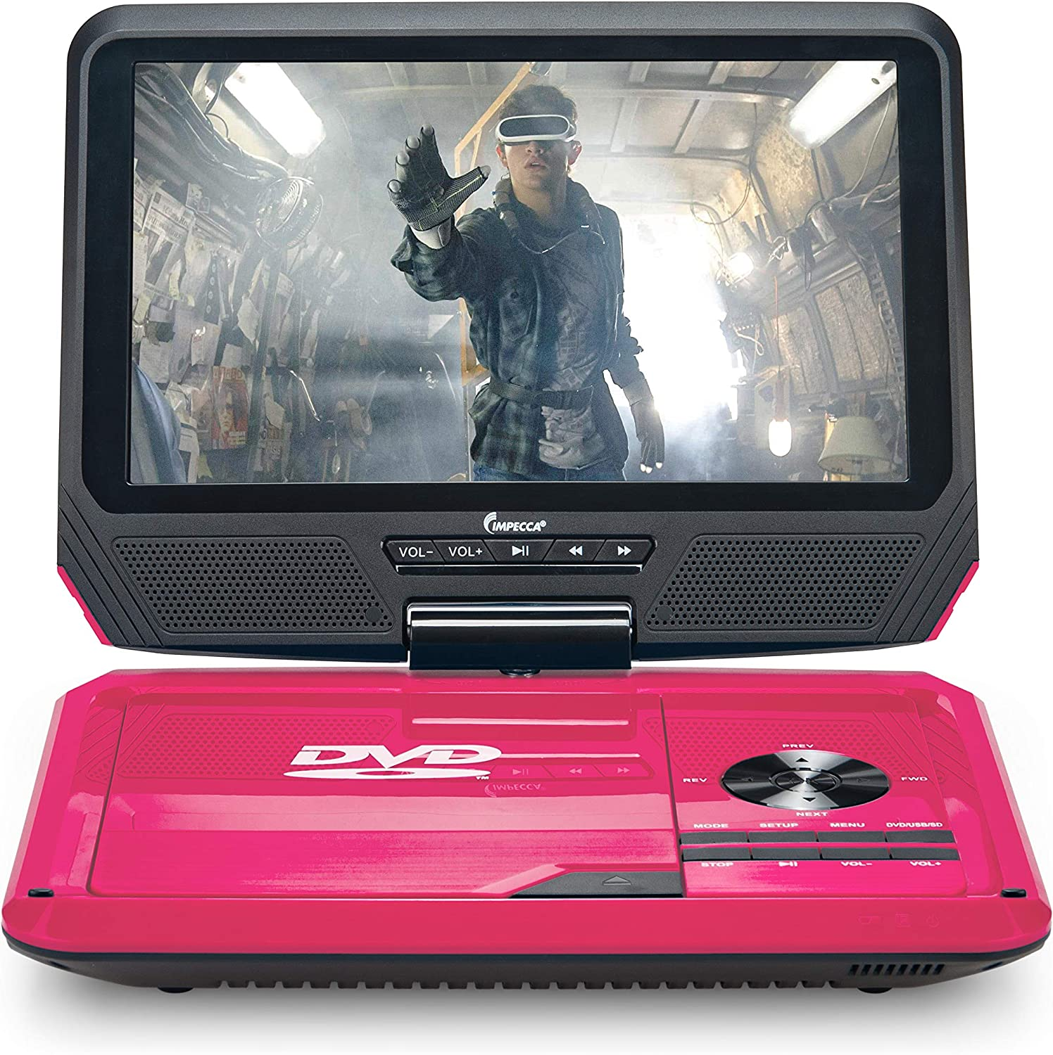 "Impecca 9"" Portable DVD Player Includes Flip and Swivel Screen, Built in USB and SD/SDHC Memory Card Slots, Remote Control"