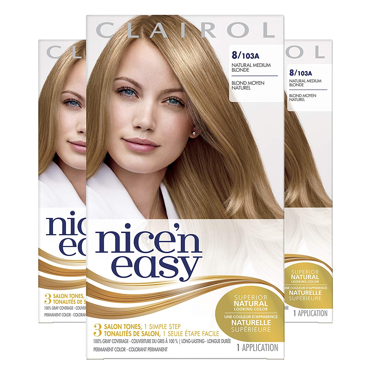 Clairol Nice'n Easy Original Permanent Hair Color, 8 Medium Blonde, 3 Count : Chemical Hair Dyes : Beauty