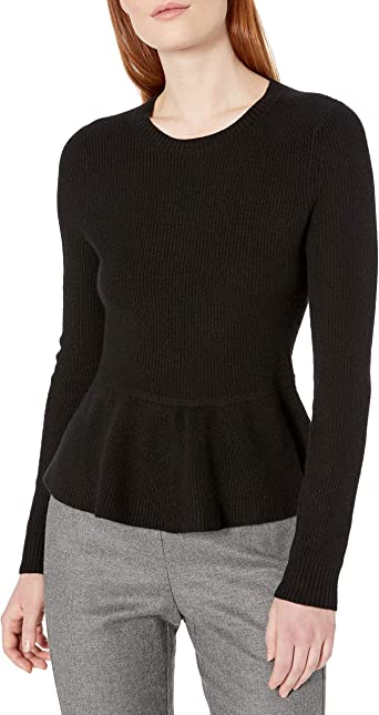 Lark & Ro Women's 100% Cashmere Soft Peplum Sweater