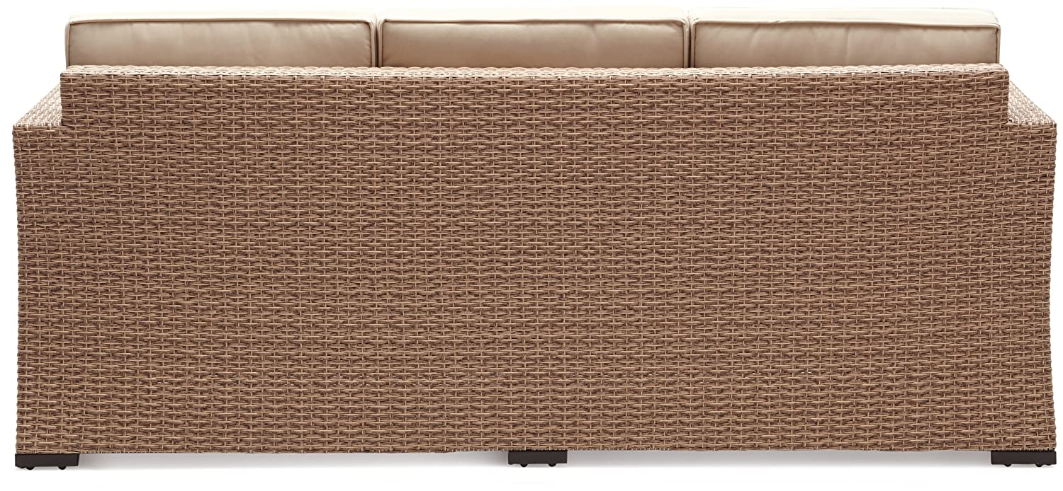 Amazon.com: Strathwood Griffen All-Weather Wicker 3-Seater Sofa ...