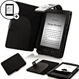 "Forefront Cases® Kindle 4, 6"" E Ink Display, Wi-Fi, Black - Black Leather Case Cover Wallet with LED Reading Light For Kindle, 6"" E Ink Display, Wi-Fi, Black - Sept 2012 Release + SCREEN PROTECTOR"