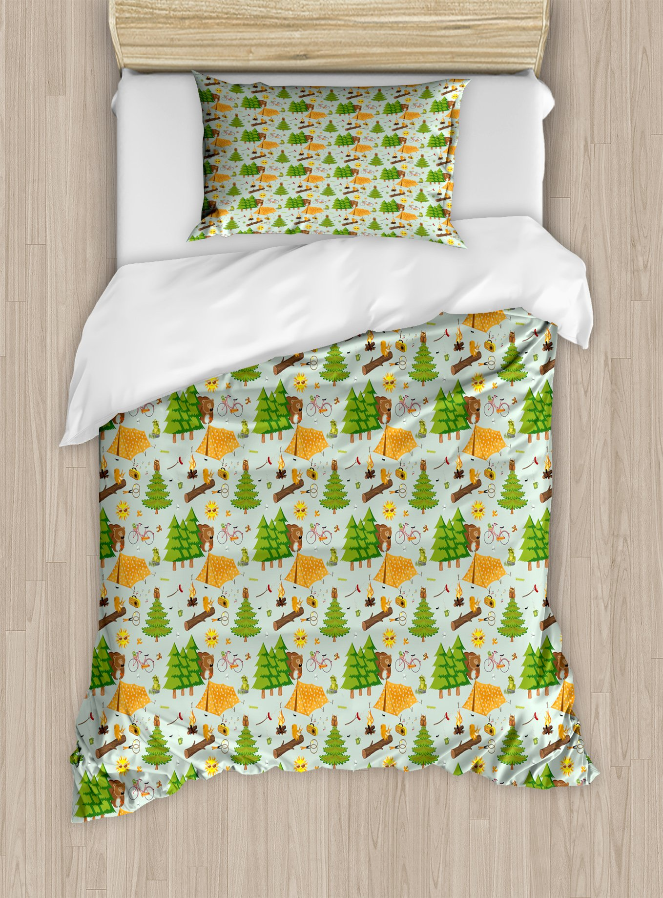 Lunarable Camping Twin Size Duvet Cover Set, Summer Season Camping in Woods with Bear Toad Squirrel Owl Outdoor Nature Cartoon, Decorative 2 Piece Bedding Set with 1 Pillow Sham, Multicolor by Lunarable (Image #1)